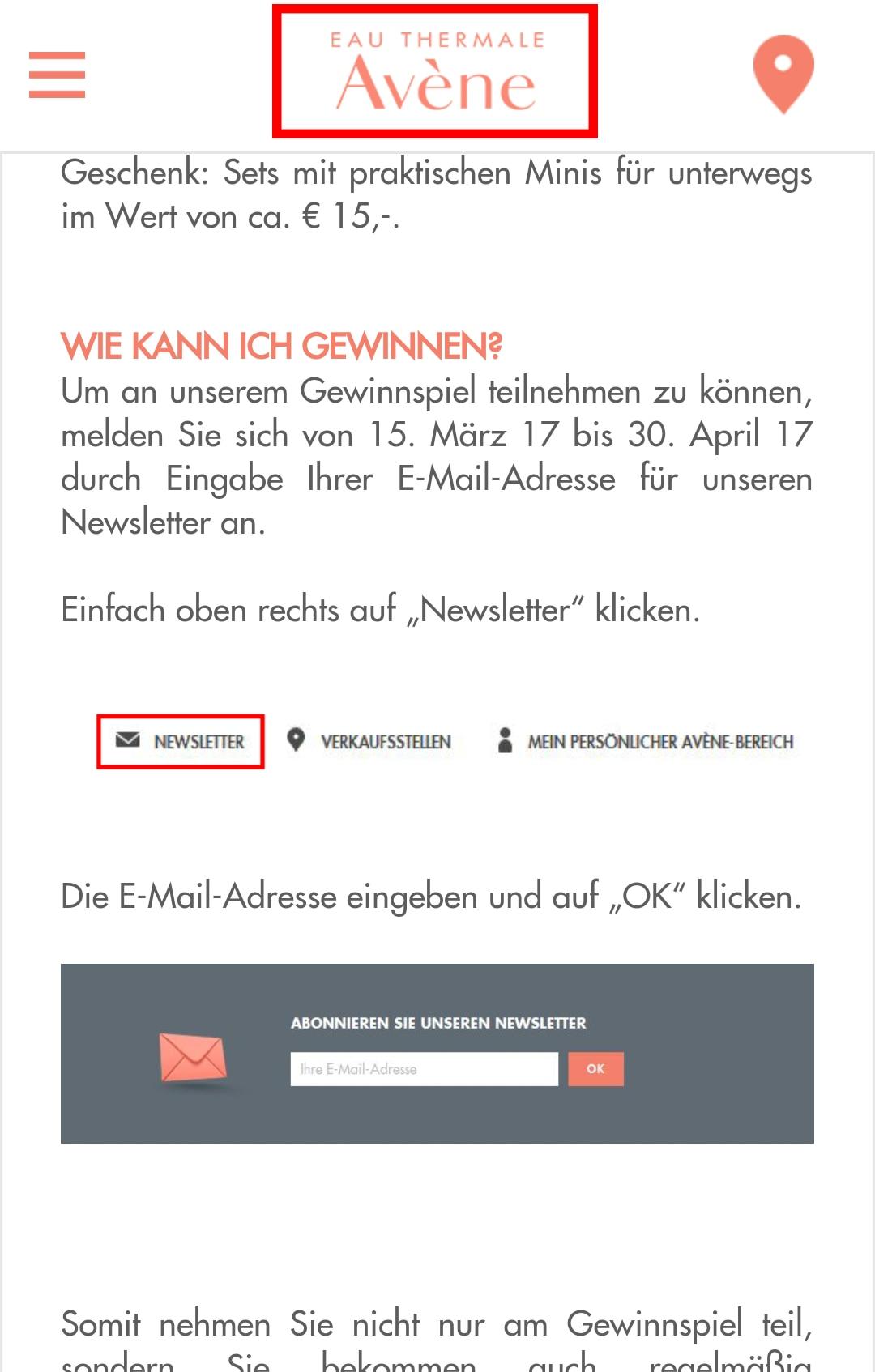 Newsletter Gewinnspiel mobile version Logo klicken