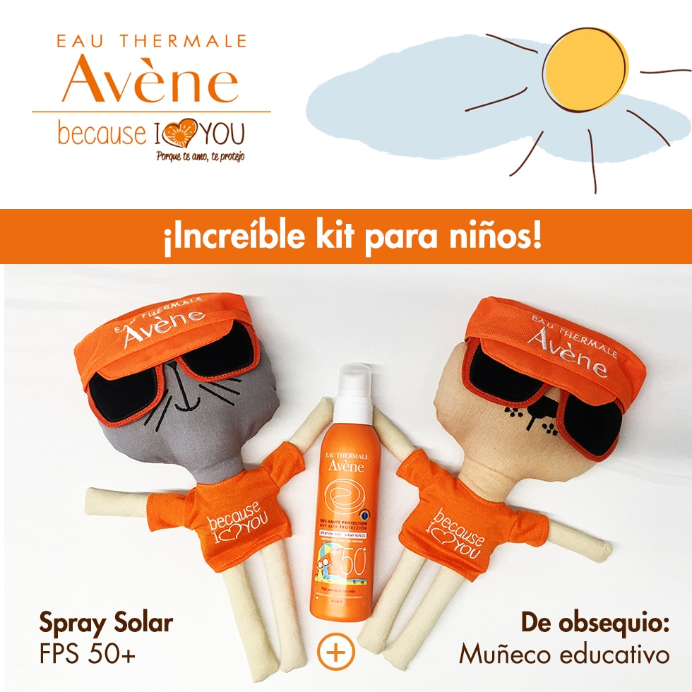 Kit Spray Solar Niños FPS 50+ y Muñeco Educativo
